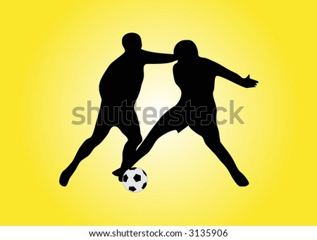 illustration of two soccers players - stock vector