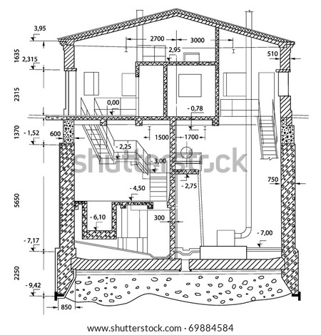 illustration of two-stored house in details - stock vector