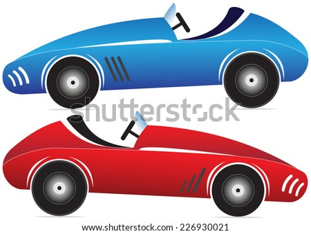 Illustration of two toy racing cars of different colors on a white background - stock vector