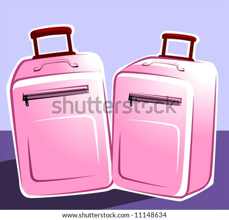 Illustration of two trolley bags - stock vector