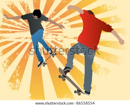 Illustration of two urban street skaters on an abstract grunge background. - stock vector
