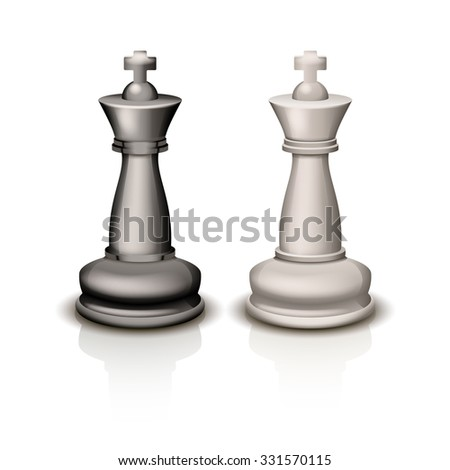 illustration of two white and black king figures on white background with shadow - stock vector