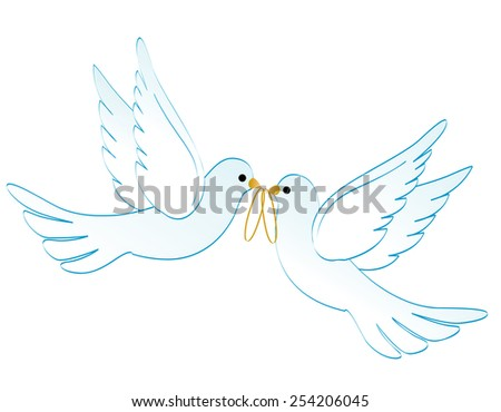 Illustration of two white pigeons / doves carrying two golden rings isolated on white background - stock vector