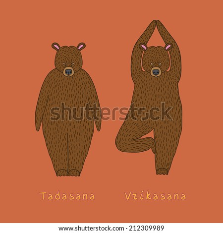 Illustration of two yoga bears - tadasana and vrikasana poses eps 10 file - stock vector