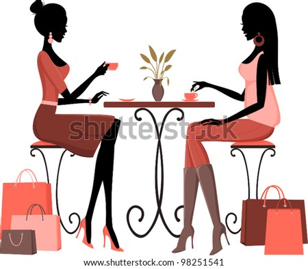 Illustration of two young women having coffee after a day of shopping. - stock vector