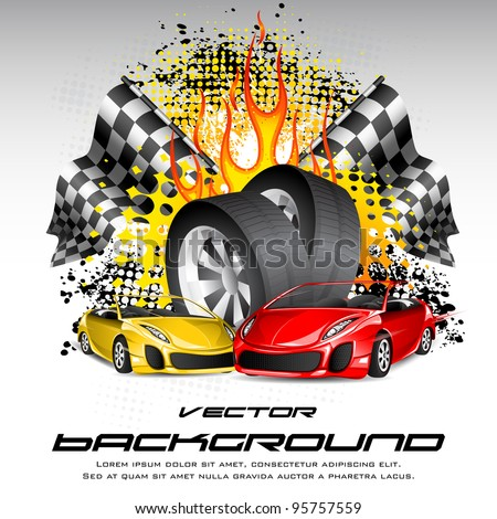 illustration of tyre with car and race flag on fiery background - stock vector