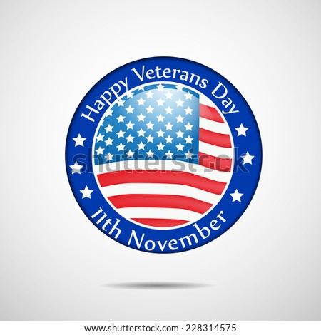 Illustration of U.S.A Flag Button or badge for Veterans Day - stock vector