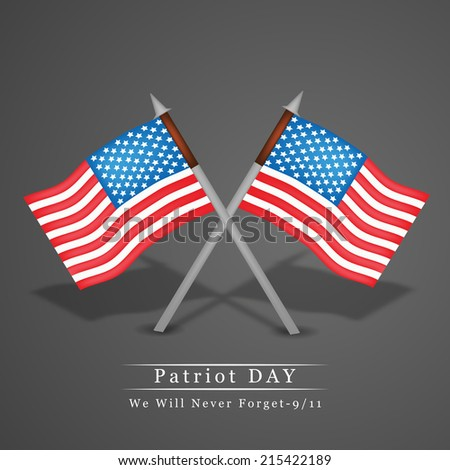 Illustration of U.S.A Flag for Patriot Day - stock vector