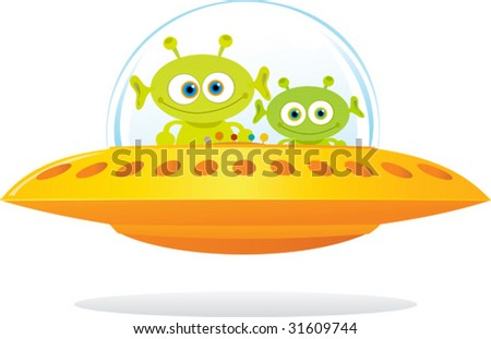Illustration of UFO with two green alien - stock vector