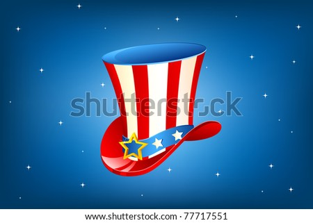 illustration of Uncle Sam hat on abstract background - stock vector