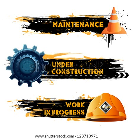 illustration of under construction banner with hard hat and cone - stock vector