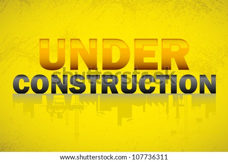 illustration of under construction banner with text and building reflection - stock vector