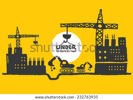 Illustration of under construction site with building, freehand drawing vector Illustration - stock vector