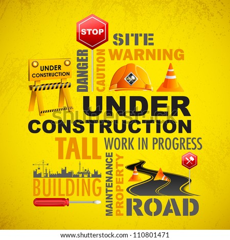 illustration of under construction word cloud with object