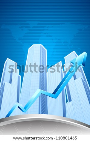 illustration of upward arrow in front of skyscraper building - stock vector