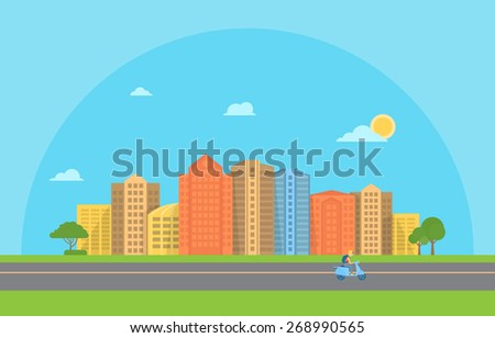 Illustration of urban landscape with modern buildings - stock vector