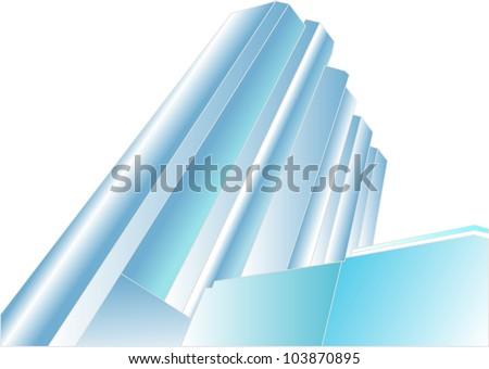 Illustration of urban skyscraper skyline of office blocks - stock vector