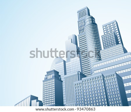 Illustration of urban skyscraper skyline of office blocks - stock vector