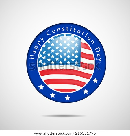 Illustration of USA Flag badge for Constitution Day - stock vector