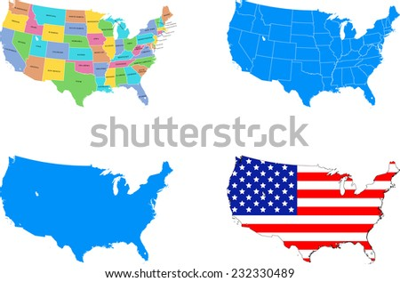 illustration of USA map with 4 different design - stock vector