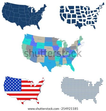 illustration of USA map with 5 different design - stock vector