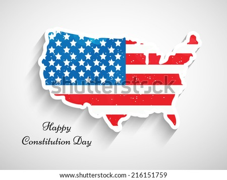 Illustration of USA Map with Flag for Constitution Day - stock vector
