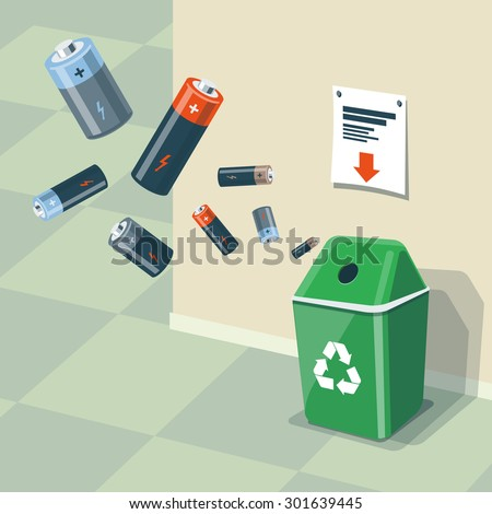 Illustration of used batteries and recycling bin for them. Batteries are in the air and falling into the green trash bin standing near the wall. Waste management concept. - stock vector