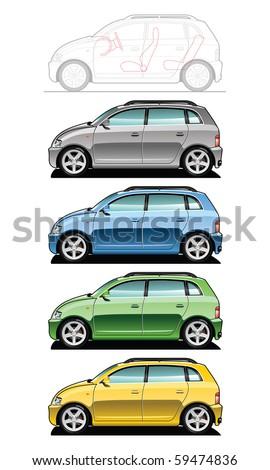 illustration of  utilitie car (Simple gradients only - no gradient mesh.) - stock vector