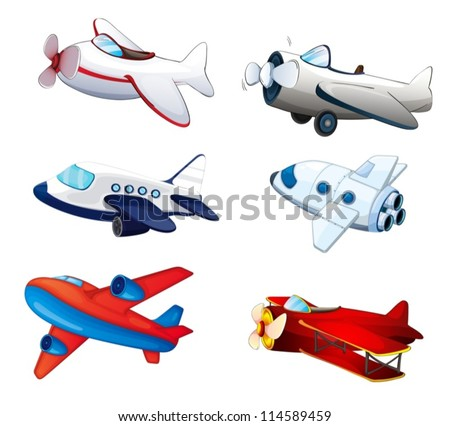 illustration of various aeroplanes on a white background - stock vector