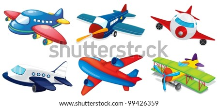 Illustration of various airplanes on white - stock vector