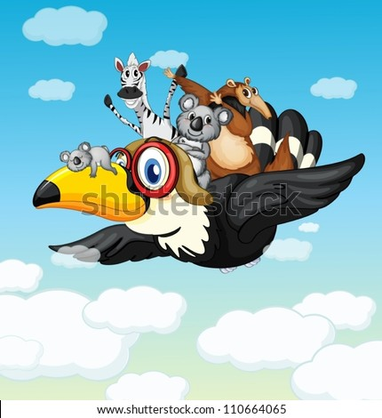 illustration of various animals in the blue sky - stock vector