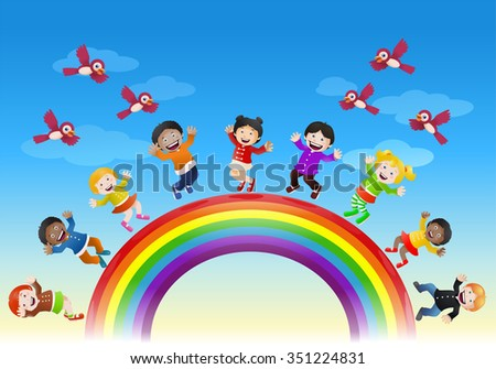 illustration of  various children happy being on top of rainbow bridge on nature background - stock vector