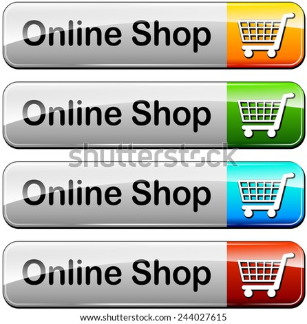 illustration of various colors set for online shop buttons - stock vector