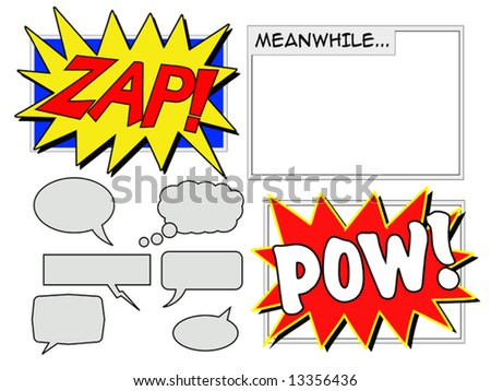 Illustration of various comic book elements including speech balloons - stock vector