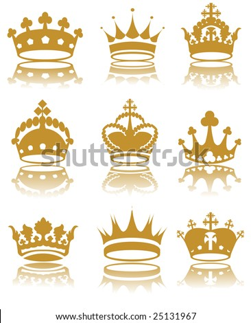 Illustration of various crowns vector - stock vector