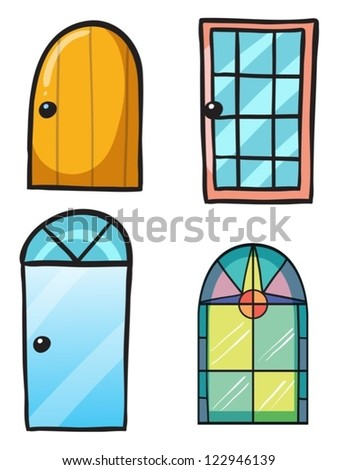 Illustration of various doors on a white background - stock vector