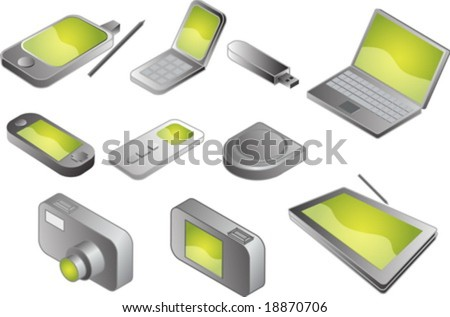 Illustration of various electronic gadgets in isometric format - stock vector