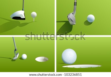 Illustration of various golf shots - stock vector