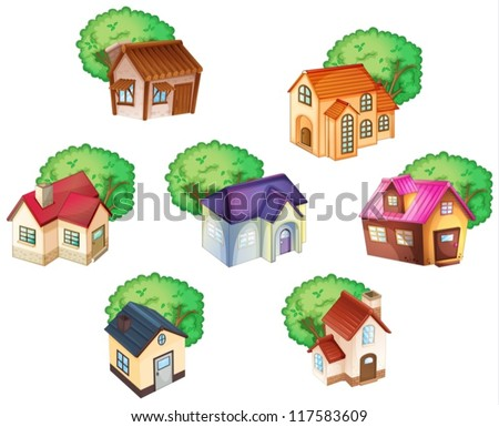 illustration of various houses on a white background - stock vector