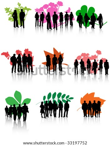 Illustration of various leaves and people