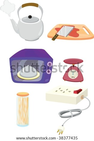 illustration of various objects on white - stock vector