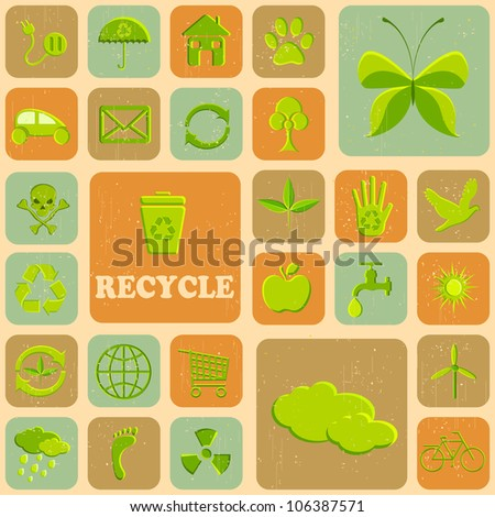 illustration of various recycle icon on grungy background