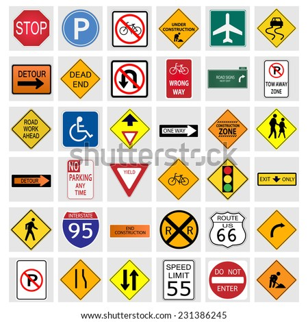 Illustration of various road signs isolated on a white background. - stock vector