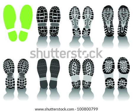 Illustration of various shoe print-vector - stock vector