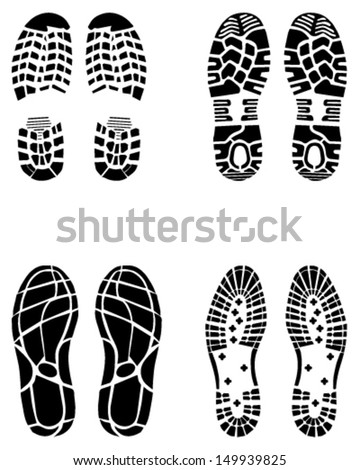 Illustration of various shoe prints 3-vector - stock vector