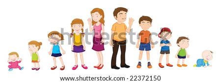 Illustration of various stages of development - stock vector