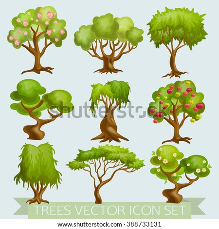 Illustration of various trees icon set isolated on a blue background