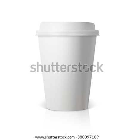 Illustration of Vector Coffee Cup Isolated on White Background. Photorealistic 3D Vector EPS10 Paper Coffee Cup Mockup  - stock vector