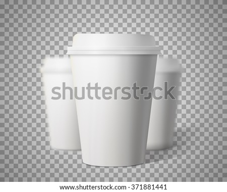 Illustration of Vector Coffee Cup Set with Blur Depth of Field Effect Isolated on Transparent PS Style Background. Photorealistic 3D Vector EPS10 Paper Coffee Cup Mockup Set - stock vector