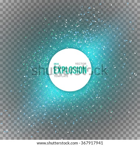 Illustration of Vector Confetti Explosion Special Effect Isolated on Transparent PS Style Background. EPS10 Dark Outer Space Overlay Star Explosion in Universe - stock vector